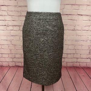 J. Crew Silver Wool Blend Skirt Size 8